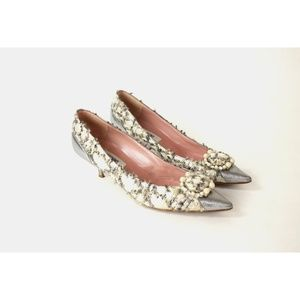 Moschino fuzzy diamond pearl pointed toe pumps